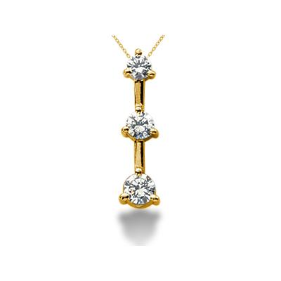 0.50CTW Classic Three Prong Three Stone Diamond Pendant in 18k Yellow Gold