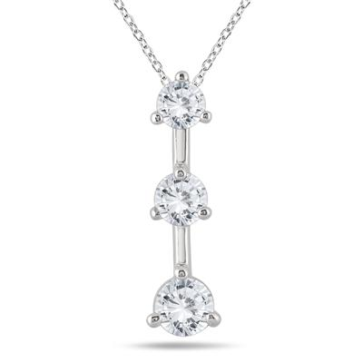 1 Carat TW Three Stone Diamond Pendant in 14K White Gold