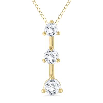 1.00 Carat Three Stone Diamond Pendant in 14K Yellow Gold