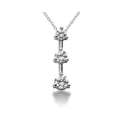 1.00CTW Classic Three Prong Three Stone Diamond Pendant in Palladium