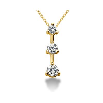 1.00CTW Classic Three Prong Three Stone Diamond Pendant in 18k Yellow Gold