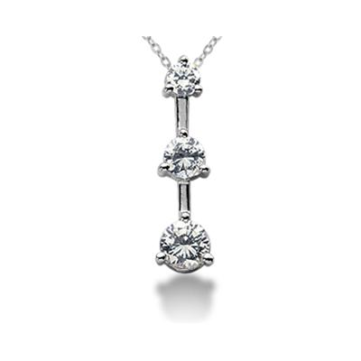 0.75CTW Classic Three Stone Diamond Pendant in Platinum