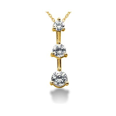 0.75CTW Classic Three Stone Diamond Pendant in 14k Yellow Gold