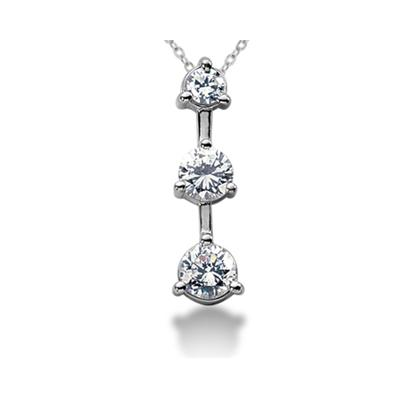 0.25CTW Classic Three Stone Diamond Pendant in 18k White Gold