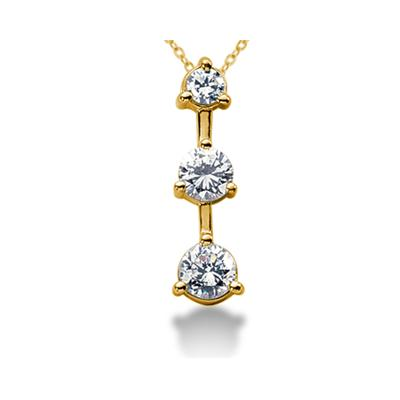 0.25CTW Classic Three Stone Diamond Pendant in 14k Yellow Gold