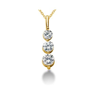 1.05CTW Shared Prong Three Stone Diamond Pendant in 18k Yellow Gold