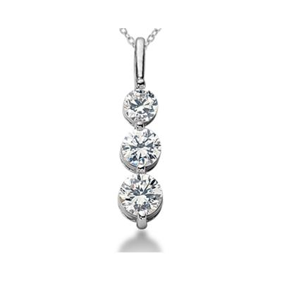 0.50CTW Shared Prong Three Stone Diamond Pendant in 18k White Gold