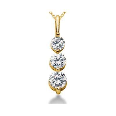 0.50CTW Shared Prong Three Stone Diamond Pendant in 18k Yellow Gold