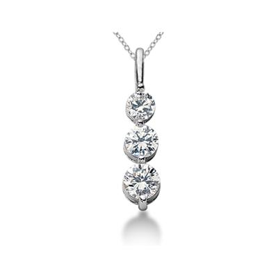 CTW Shared Prong Three Stone Diamond Pendant in 18k White Gold