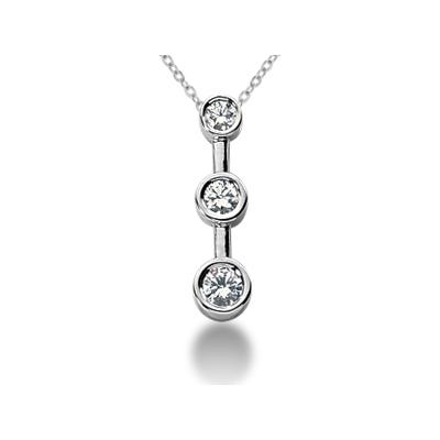 0.25CTW Bezel Set Three Stone Diamond Pendant in 14k White Gold