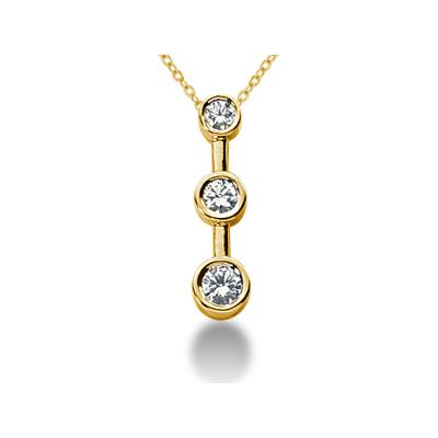0.25CTW Bezel Set Three Stone Diamond Pendant in 14k Yellow Gold