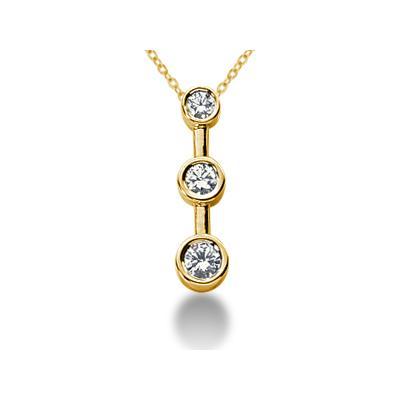 0.25CTW Bezel Set Three Stone Diamond Pendant in 14k Yellow Gold