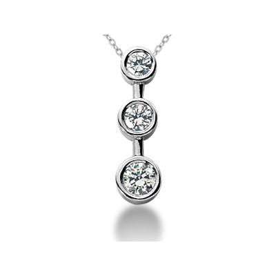 0.50CTW Bezel Set Three Stone Diamond Pendant in 18k White Gold
