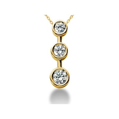 1/2 Carat Bezel Set Three Stone Diamond Pendant in 14k Yellow Gold