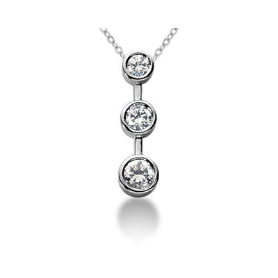0.75CTW Bezel Set Three Stone Diamond Pendant in 14k White Gold