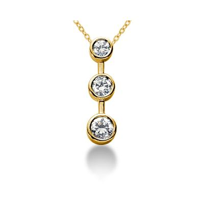 0.75CTW Bezel Set Three Stone Diamond Pendant in 14k Yellow Gold