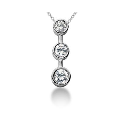 1.00 Carat Bezel Set Three Stone Diamond Pendant in 14k White Gold