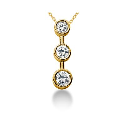 1.00CTW Bezel Set Three Stone Diamond Pendant in 18k Yellow Gold