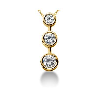 0.75CTW Bezel Set Three Stone Diamond Pendant in 14k Yellow Gold