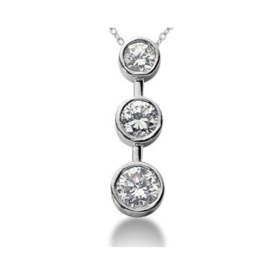 0.50CTW Bezel Set Three Stone Diamond Pendant in 14k White Gold