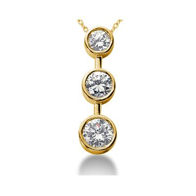 0.50CTW Bezel Set Three Stone Diamond Pendant in 14k Yellow Gold