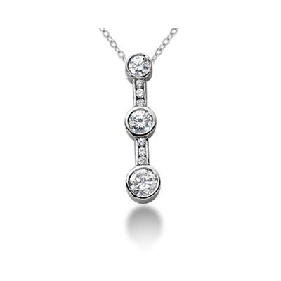 0.43CTW Bezel and Channel Set Diamond Three Stone Pendant in 18k White Gold