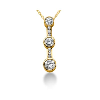 0.74CTW Bezel and Channel Set Diamond Three Stone Pendant in 14k Yellow Gold