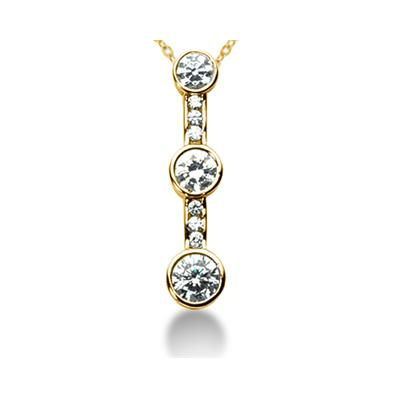 0.99CTW Bezel and Channel Set Diamond Three Stone Pendant in 14k Yellow Gold
