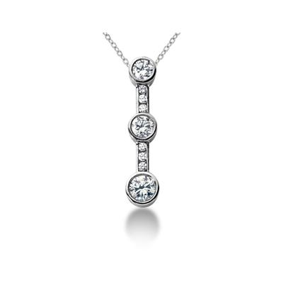 1.20CTW Bezel and Channel Set Diamond Three Stone Pendant in 14k White Gold