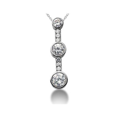 0.95CTW Diamond Three Stone Pendant in 18k White Gold