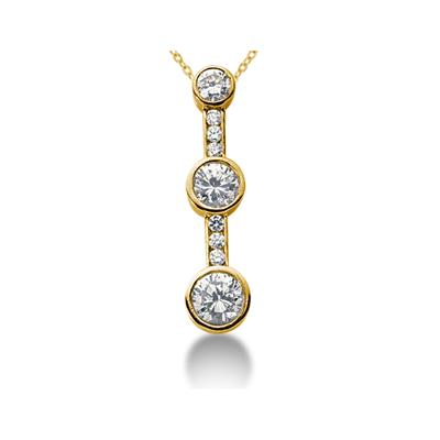 0.51CTW Diamond Three Stone Pendant in 14k Yellow Gold