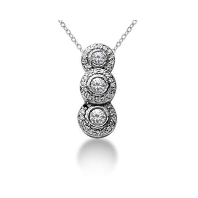 0.74 Regal Diamond Three Stone Pendant in 14k White Gold
