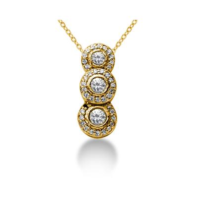 0.74 Regal Diamond Three Stone Pendant in 14k Yellow Gold