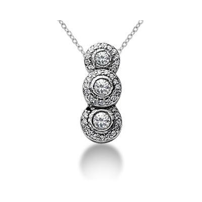 1.07 Regal Diamond Three Stone Pendant in 18k White Gold
