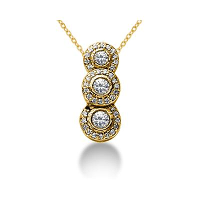 1.07 Regal Diamond Three Stone Pendant in 14k Yellow Gold