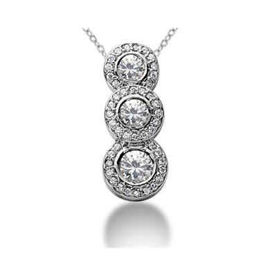 1.42 Regal Diamond Three Stone Pendant in 18k White Gold