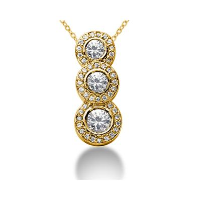 1.42 Regal Diamond Three Stone Pendant in 18k Yellow Gold
