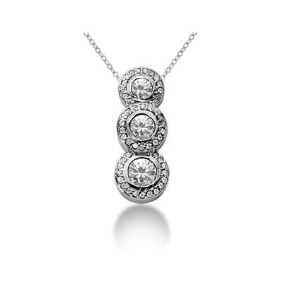 1.12 Regal Diamond Three Stone Pendant in 14k White Gold