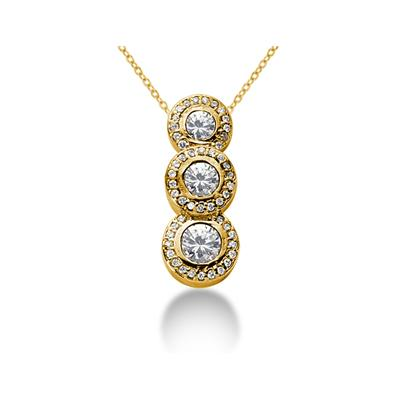 1.12 Regal Diamond Three Stone Pendant in 14k Yellow Gold
