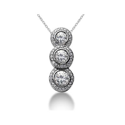 0.90 Regal Diamond Three Stone Pendant in 14k White Gold