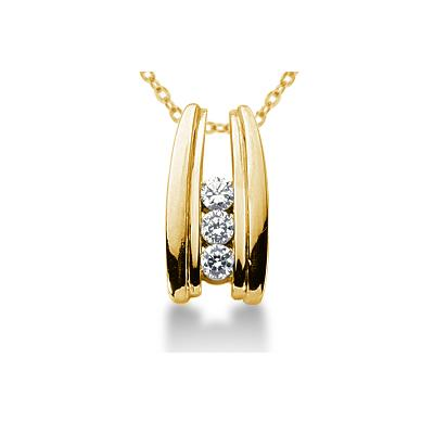 0.30CTW Bar Set Diamond Three Stone Pendant in 14k Yellow Gold