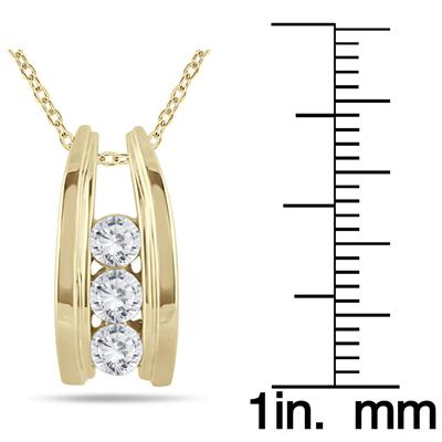 1/2 Carat Three Stone Diamond Ladder Pendant in 10k Yellow Gold