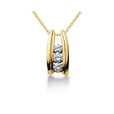 0.50CTW Bar Set Diamond Three Stone Pendant in 18k Yellow Gold