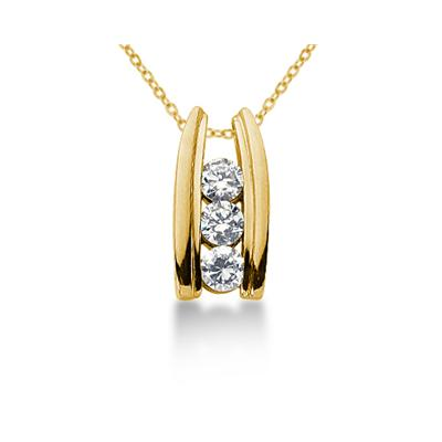 0.80CTW Bar Set Diamond Three Stone Pendant in 14k Yellow Gold