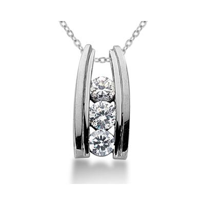 1.00CTW Bar Set Diamond Three Stone Pendant in 18k White Gold