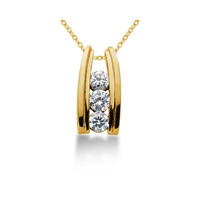 1.00CTW Bar Set Diamond Three Stone Pendant in 18k Yellow Gold