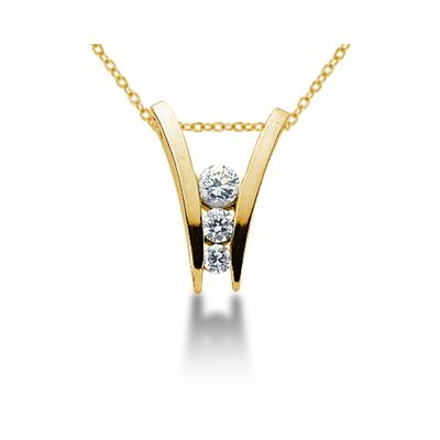 0.46CTW Diamond Three Stone Ladder Pendant in 18k Yellow Gold