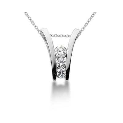 0.63CTW Diamond Three Stone Ladder Pendant in 18k White Gold