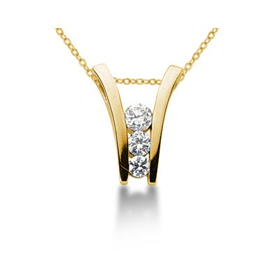 0.63CTW Diamond Three Stone Ladder Pendant in 18k Yellow Gold