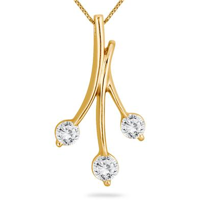 1/2 Carat Diamond Three Stone Leaf Pendant in 10k Yellow Gold